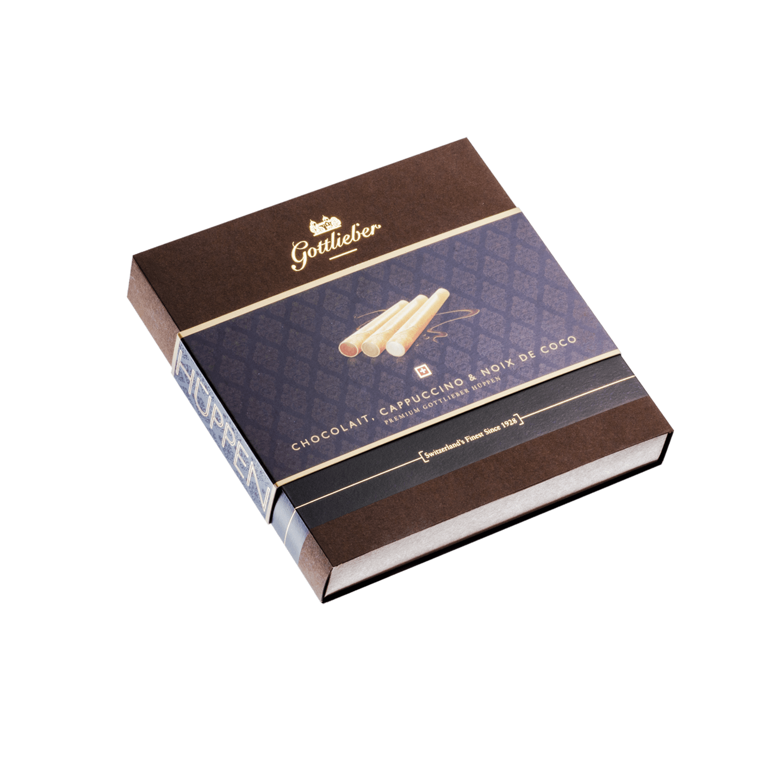 """Gottlieber Hüppen - Chocolait, Cappuccino, Noix de Coco """"Premium"""" (120 g)"""