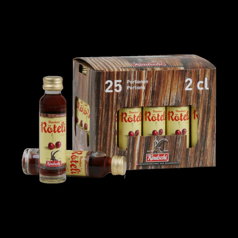 """Kindschi - """"Röteli"""" Liqueur Minis (25 x 2 CL)"""
