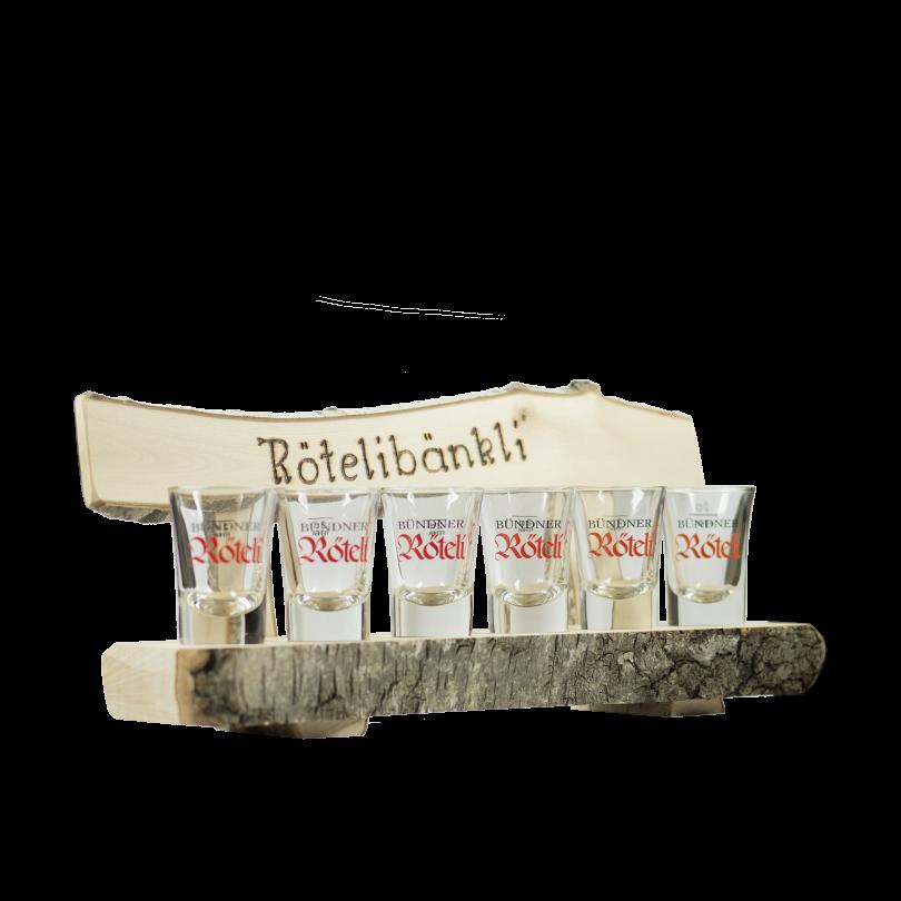 "Kindschi - ""Röteli-Bänkli"" & Set of 6 Shot Glasses"