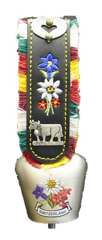 Swiss Souvenirs - Cow Bell Swiss Flowers 'Silver'