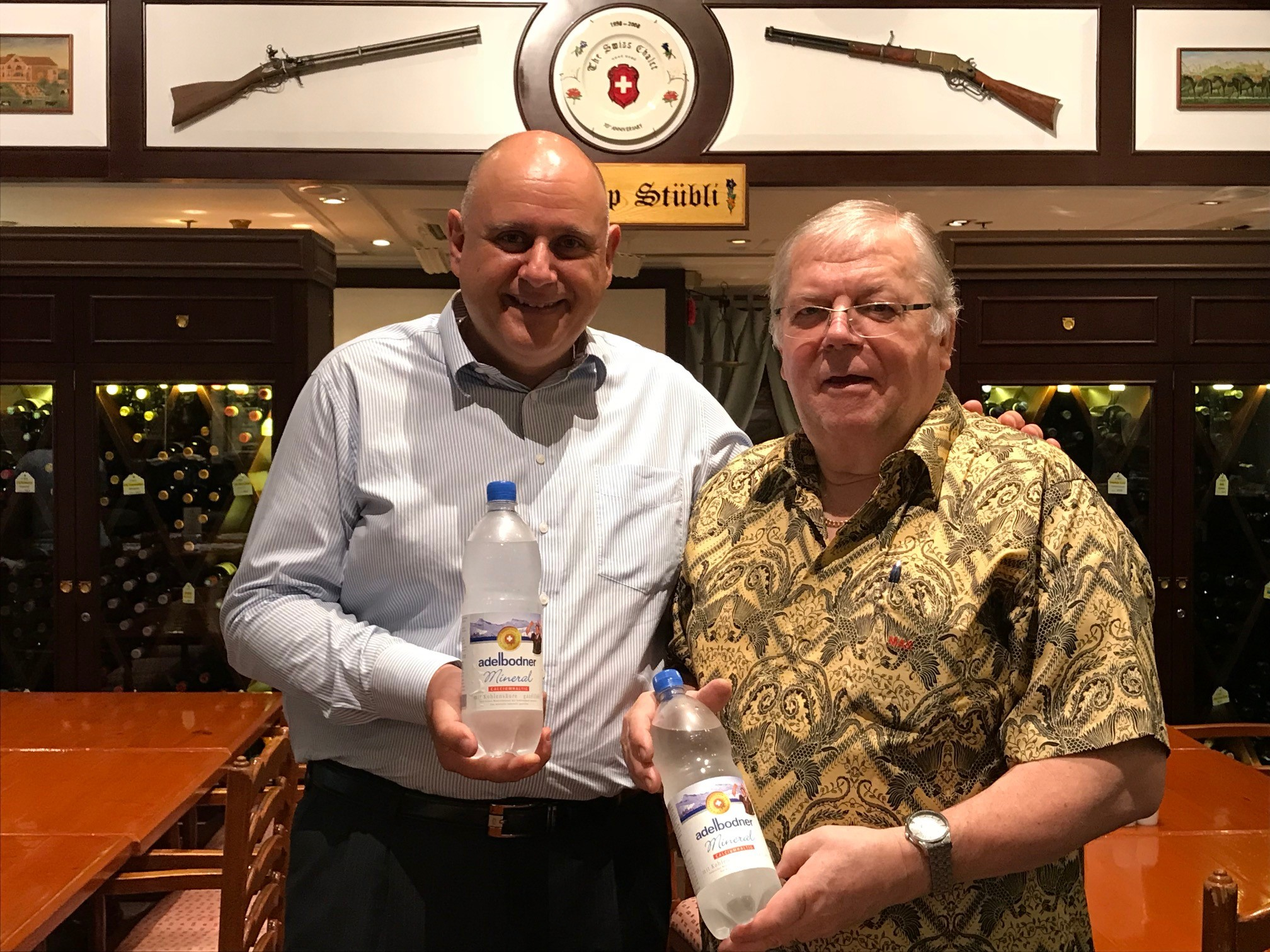Enjoy Adelbodner Swiss Mineral Water at The Swiss Chalet Restaurant in TST