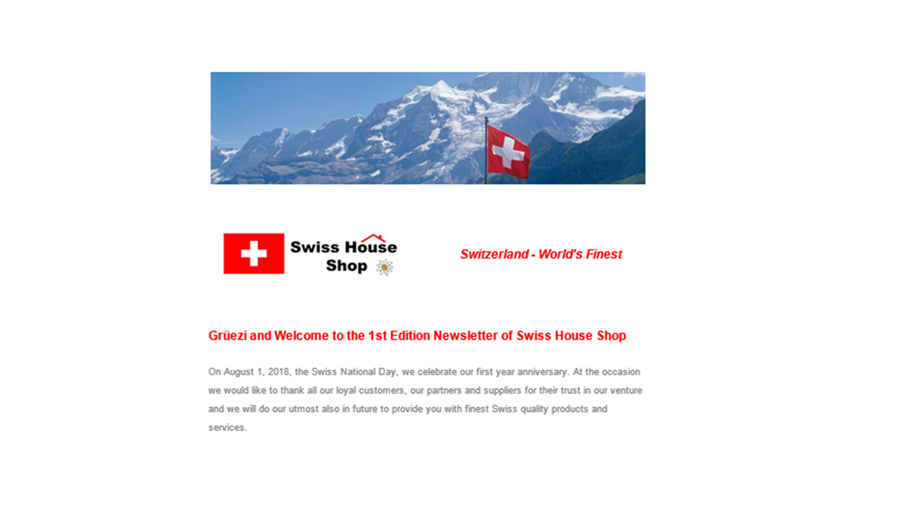 "Swiss House Shop launches ""Newsletter"""